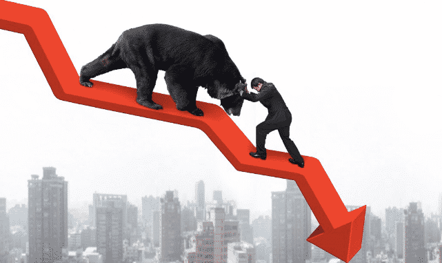 picture of a bear coming down a red downward arrow and a man trying to put the bear back up