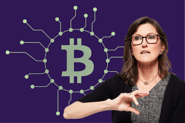 Picture of Cathie Wood, Ark Invest CEO, with a bitcoin logo with circuit lines going out of it behind her