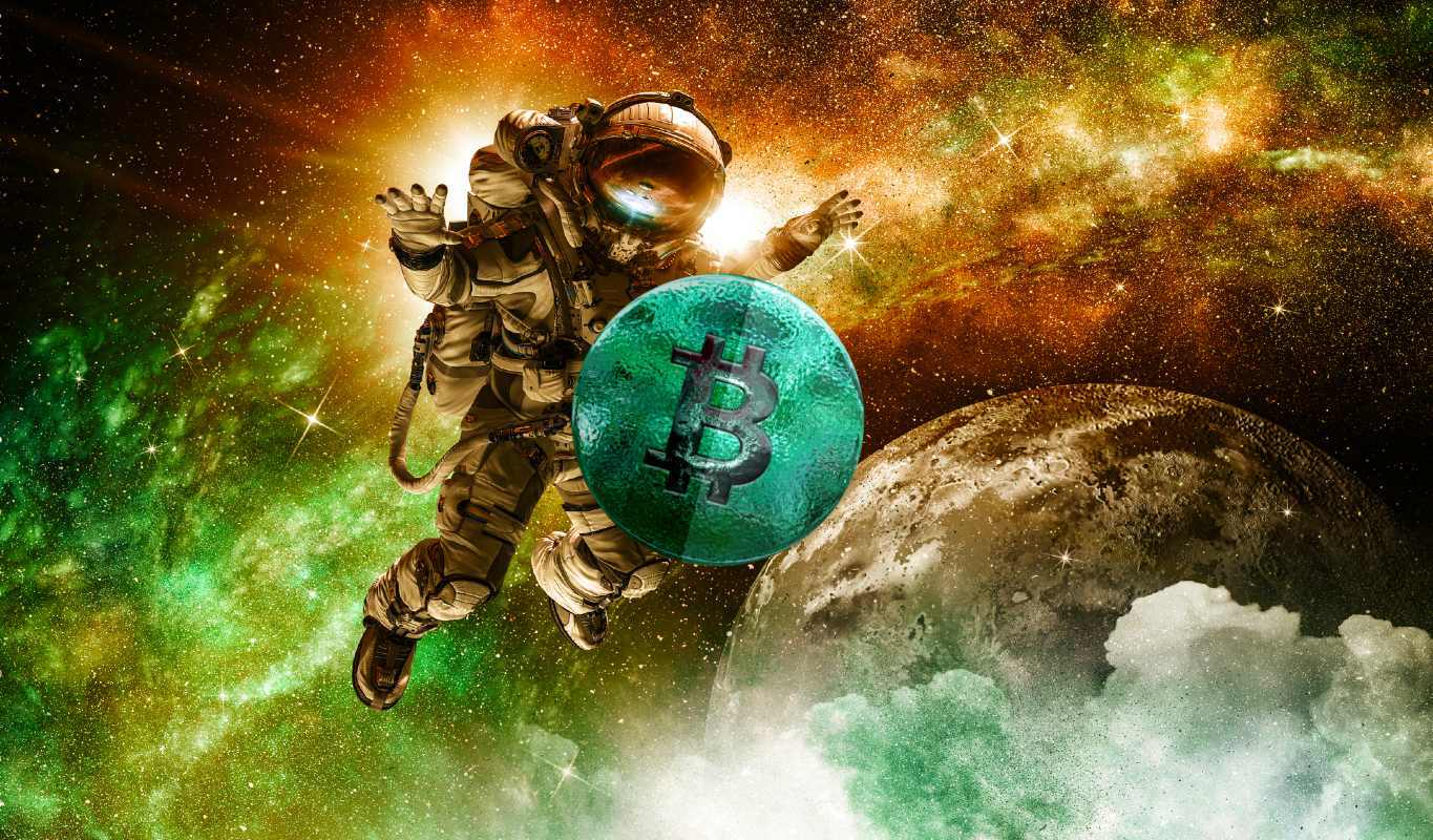 Picture of an astronaut in space with a green bitcoin in front of him, depicting SpaceX holding bitcoin