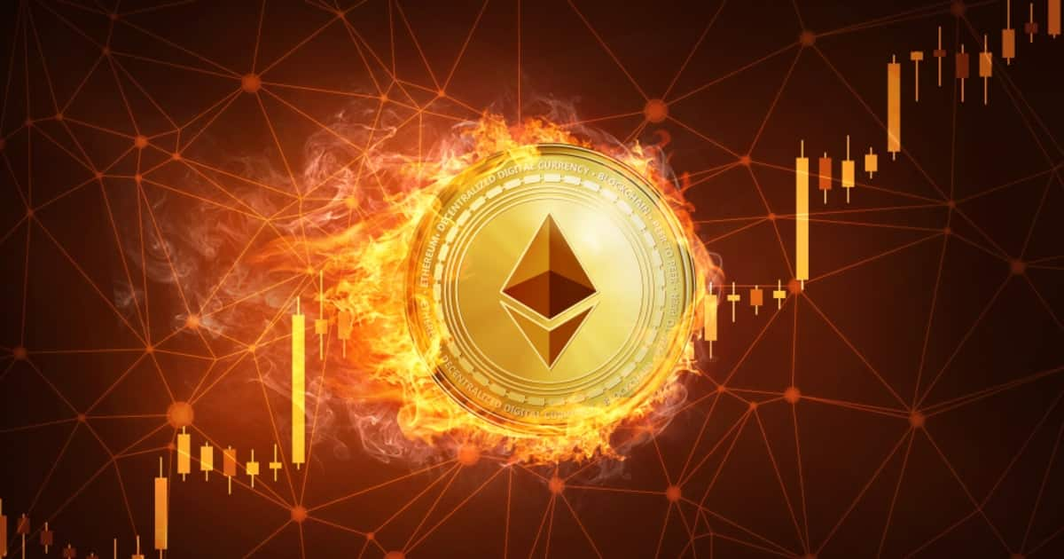 Picture of an Ethereum coin on fire, with candlestick charts going through it
