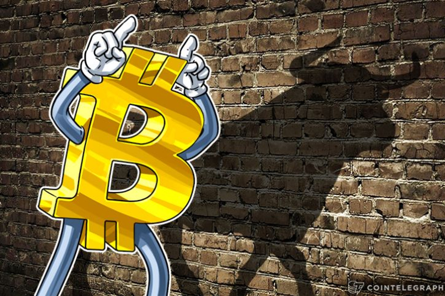 picture of a bitcoin with two fingers on its head, casting the shadow of a bull on the wall
