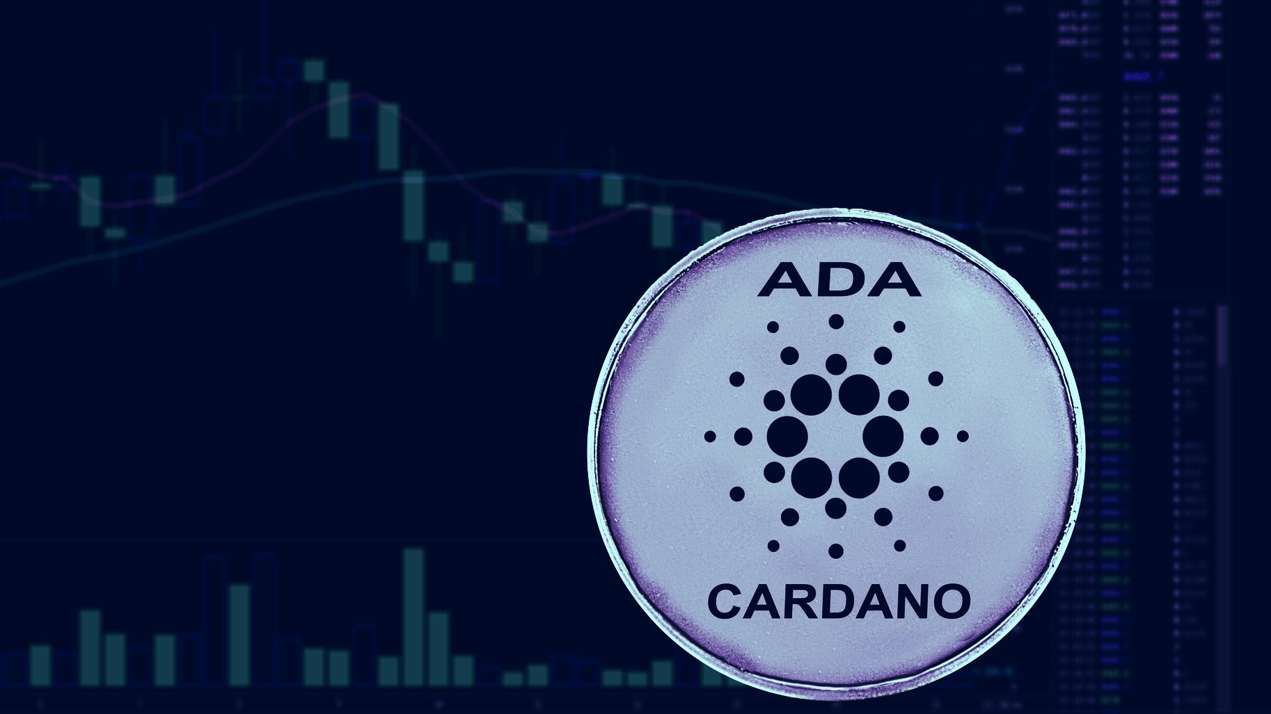 Picture of a Cardano coin in front of a candlestick chart